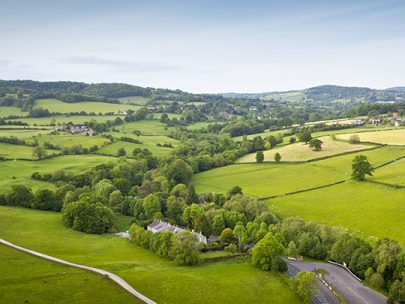 Aerial view of British countryside in spring