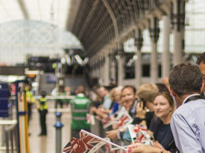 Supporters of Rail Opening at Paddington Station