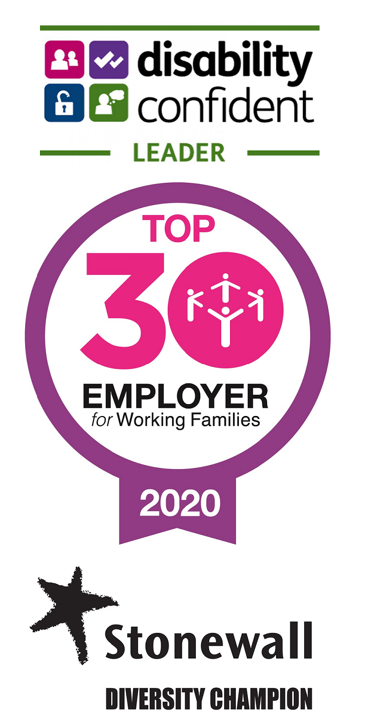 Disability Confident Leader / Working Families Top30 Employer / Stonewall Diversity Champion