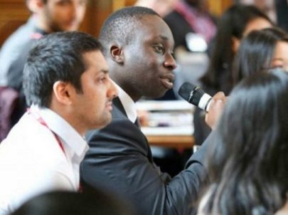 A Man Speaking with a Microphone on the Early Diversity Internship