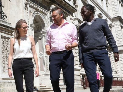 Three Foreign And Commonwealth Office Team Members On Clive Steps