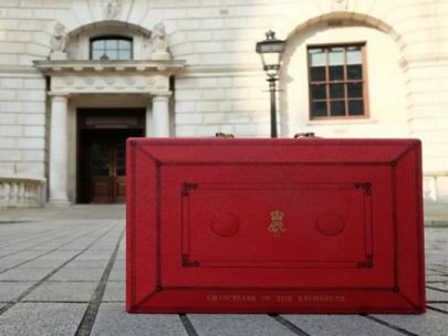 Red Budget Box Outside Hm Treasury