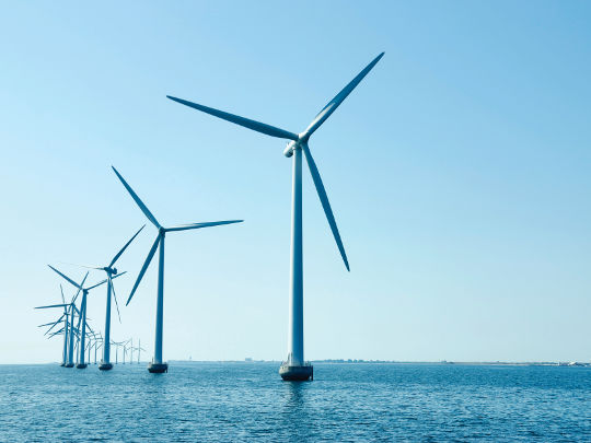 Wind Turbines At Sea Outside Copenhagen, Denmark